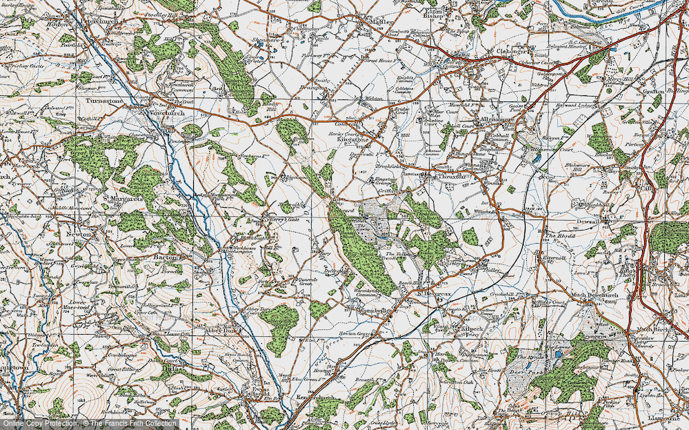Old Map of Historic Map covering Banses Wood in 1919