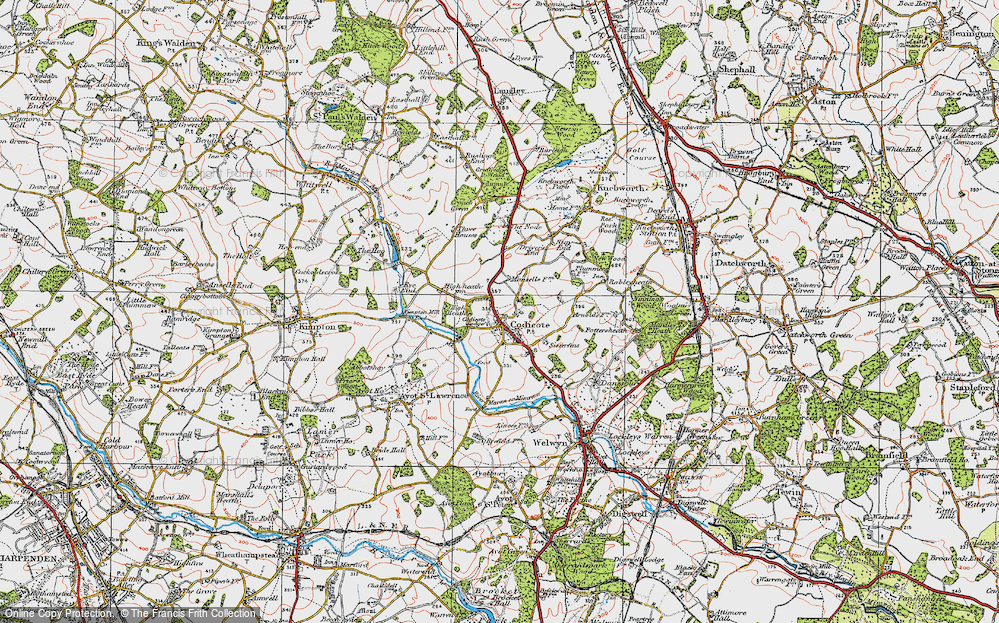 Old Map of Codicote, 1920 in 1920