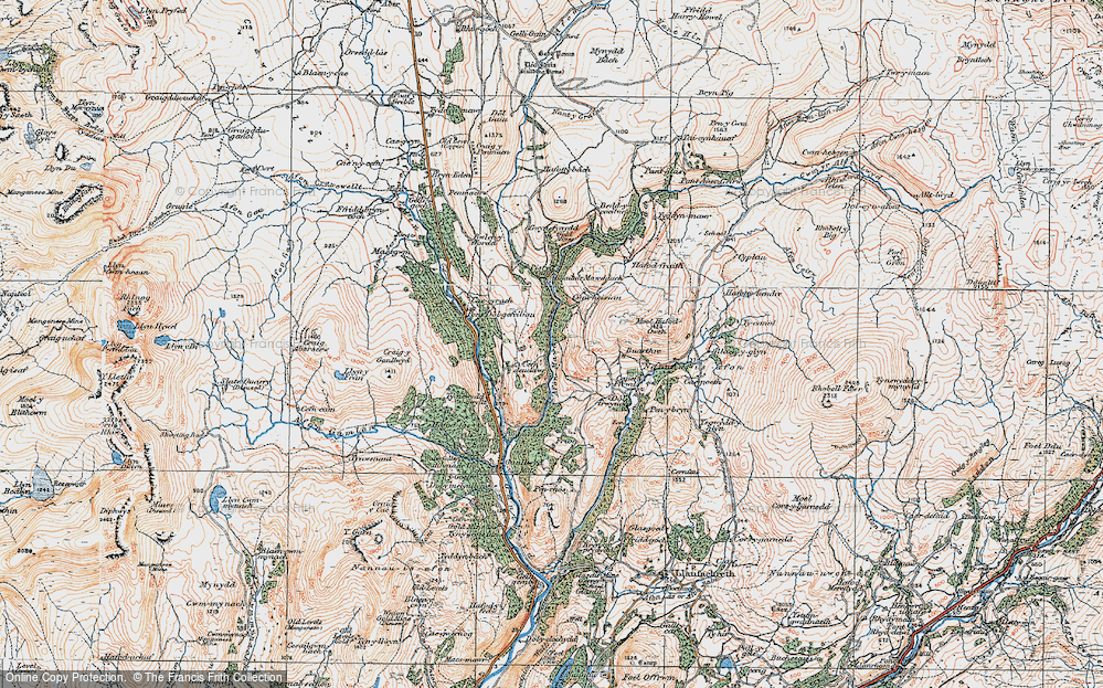 Old Map of Historic Map covering Afon Serw in 1921