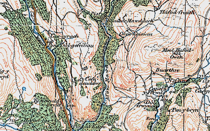 Old map of Afon Eden in 1921