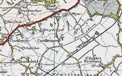 Old map of Coedkernew in 1919