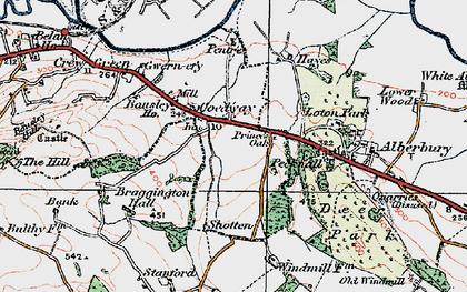 Old map of Alberbury Castle in 1921