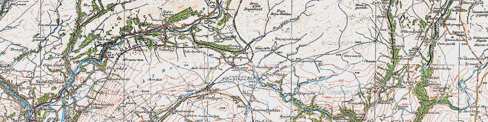 Old map of Tonspyddaden in 1923