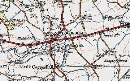 Old map of Coggeshall in 1921