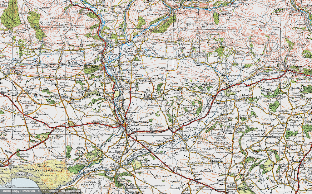 Old Map of Coity, 1922 in 1922