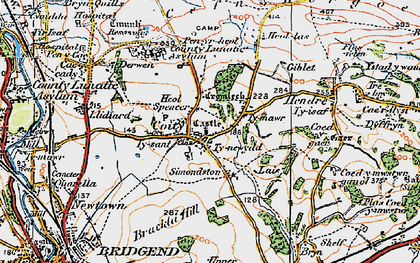 Old map of Coity in 1922