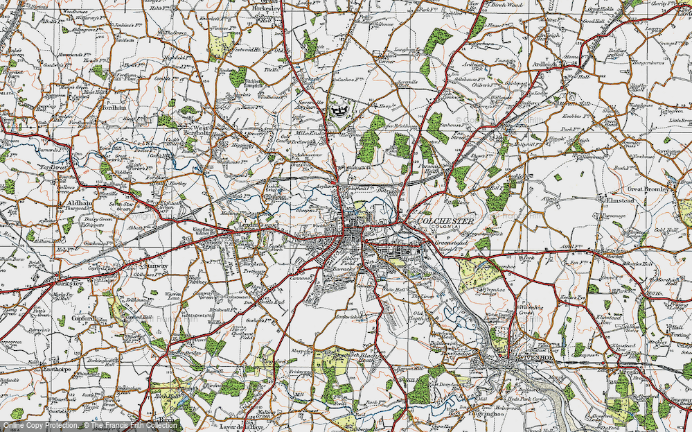 Map of Colchester 1921 Francis Frith