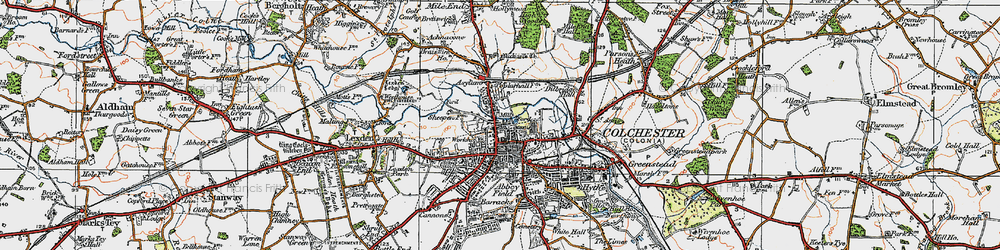 Old map of Colchester in 1921
