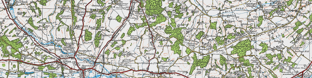 Old map of Cold Ash in 1919