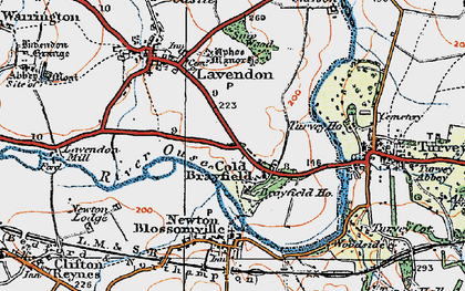 Old map of Cold Brayfield in 1919