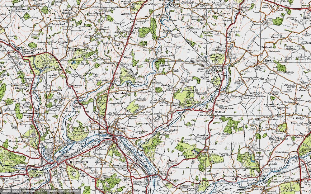Old Map of Historic Map covering Ashridge Common in 1919