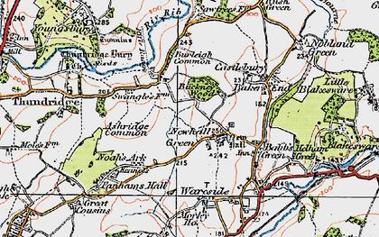 Old map of Ashridge Common in 1919