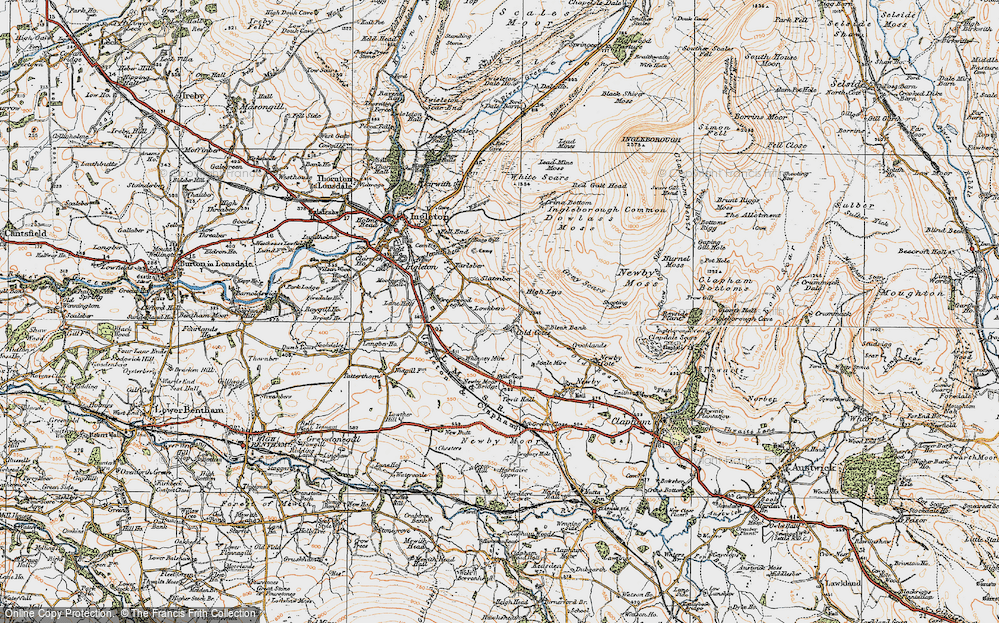 Old Map of Historic Map covering Whinney Mire in 1924
