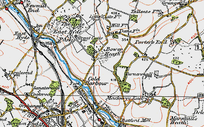 Old map of Cold Harbour in 1920