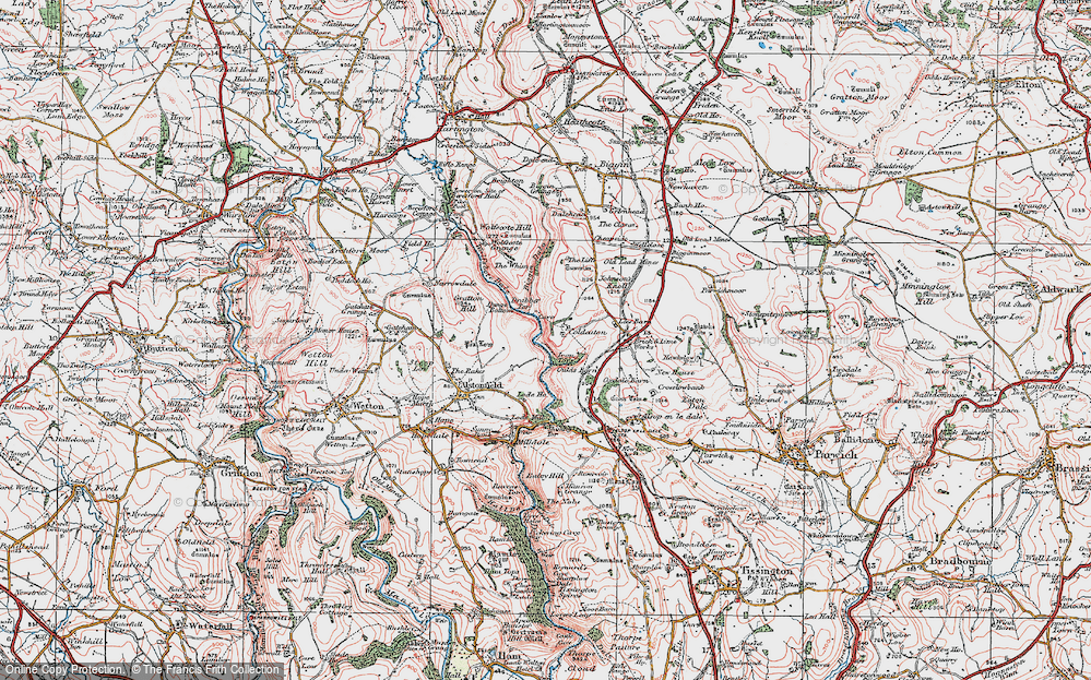 Old Map of Historic Map covering Liffs, The in 1923
