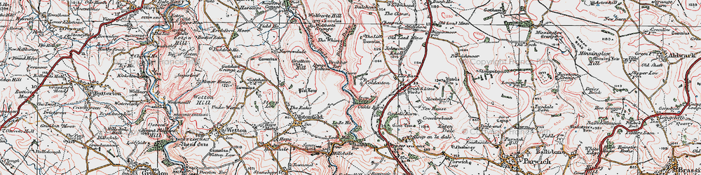 Old map of Whim, The in 1923