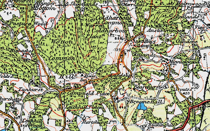 Old map of Coldharbour in 1920