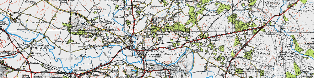 Old map of Colehill in 1919