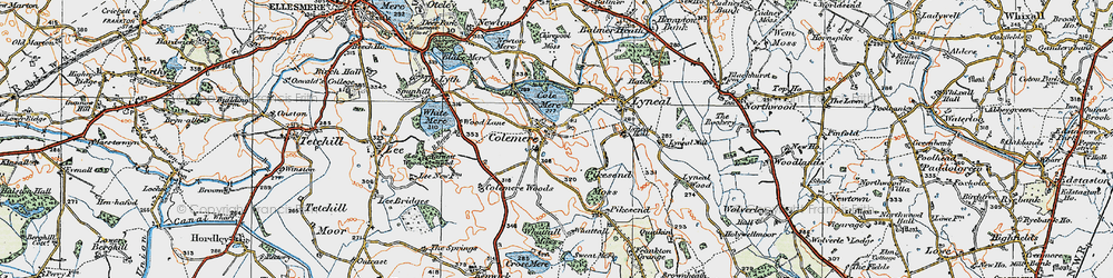 Old map of Colemere in 1921