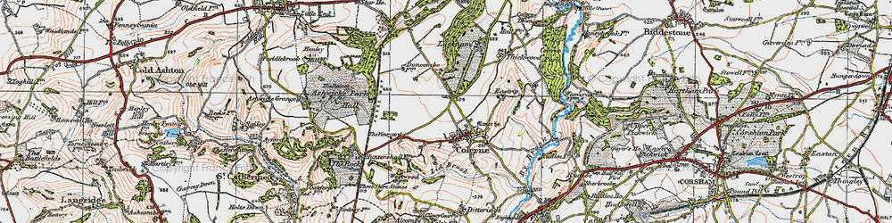 Old map of Colerne in 1919