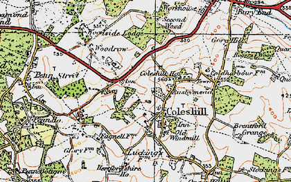 Old map of Coleshill in 1920