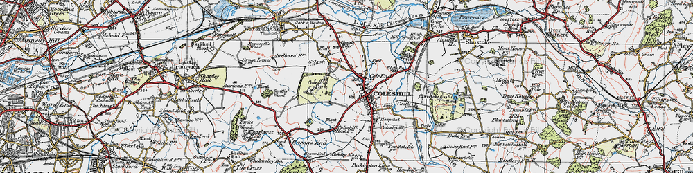 Old map of Coleshill in 1921