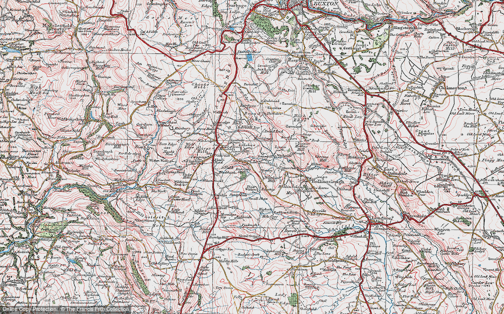 Old Map of Historic Map covering Axe Edge End in 1923