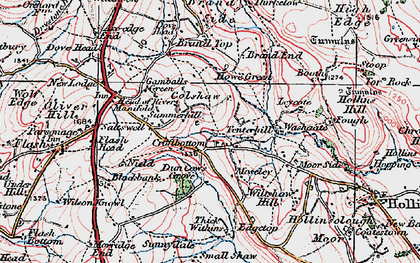 Old map of Axe Edge End in 1923