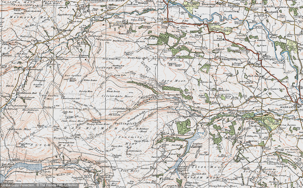 Old Map of Historic Map covering Baldcar Head in 1925