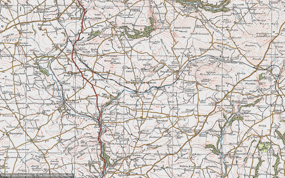 Old Map of Historic Map covering Afon Glan-rhyd in 1922