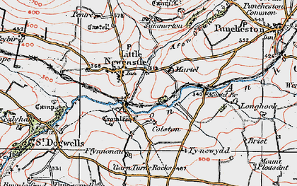 Old map of Afon Glan-rhyd in 1922