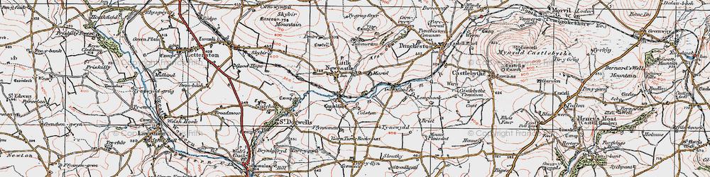 Old map of Afon Glan-rhyd in 1922