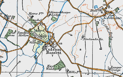 Old map of Colston Bassett in 1921