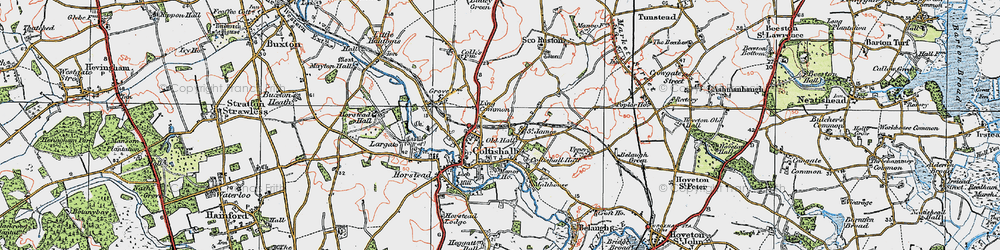 Old map of Coltishall in 1922