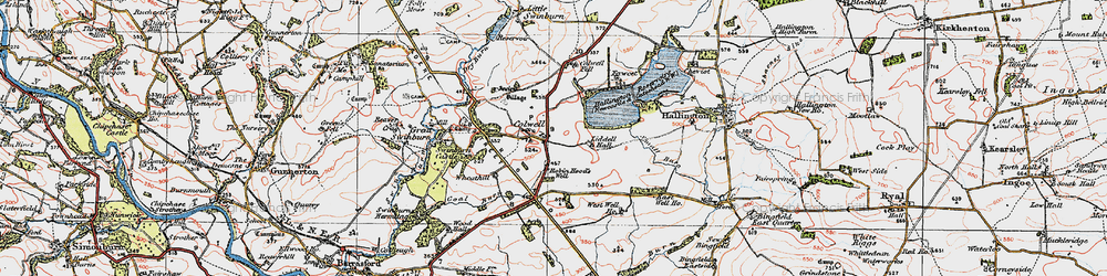 Old map of Colwell in 1925