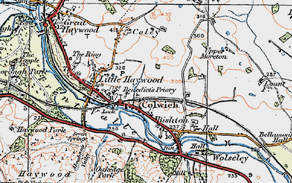 Old map of Colwich in 1921