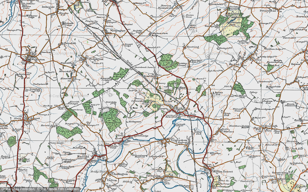 Old Map of Historic Map covering Tofte Manor in 1919