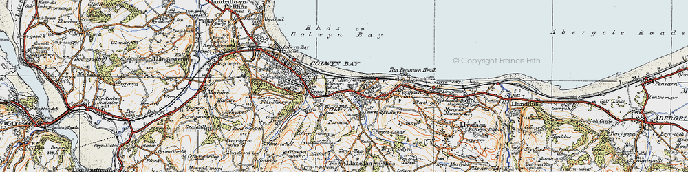 Old map of Colwyn Bay in 1922