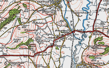 Old map of Colyford in 1919