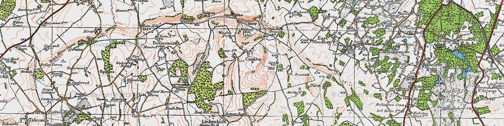 Old map of West Woodhay Down in 1919
