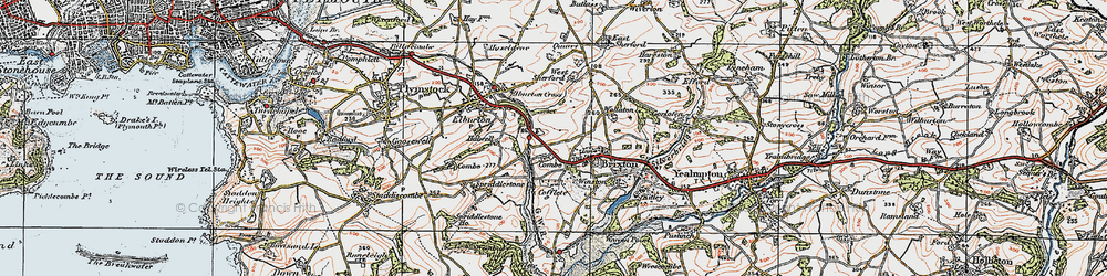 Old map of West Sherford in 1919