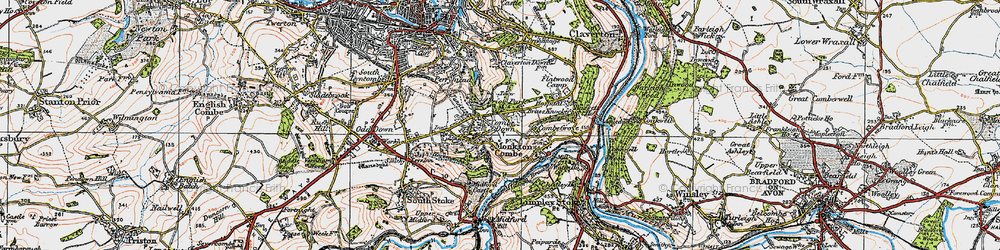 Old map of Combe Down in 1919