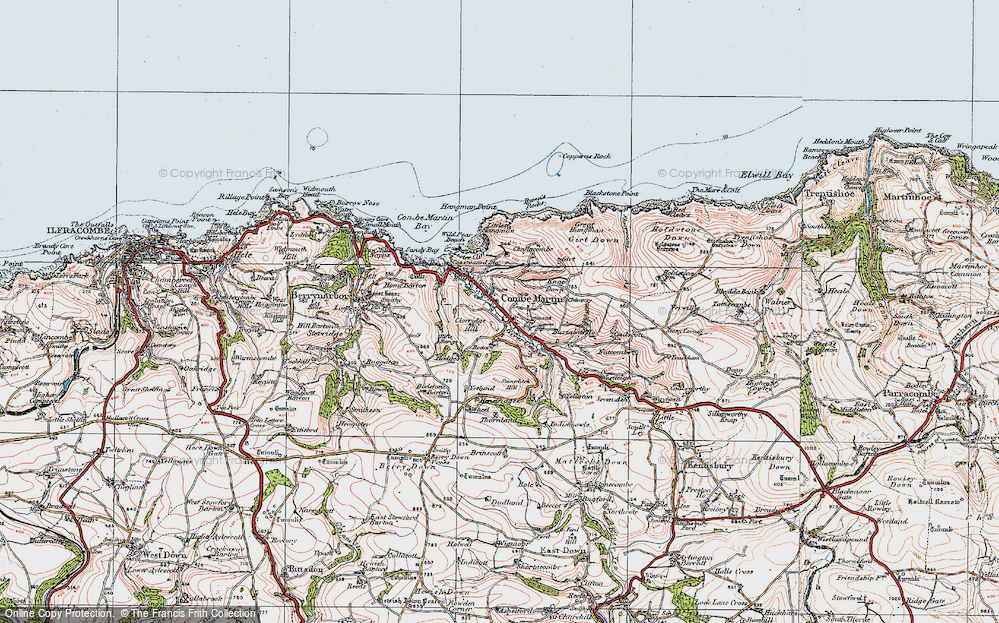 Old Map of Historic Map covering Lester Cliff in 1919