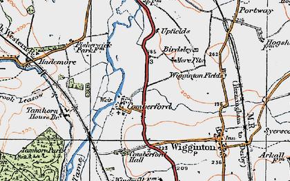 Old map of Wiggington Fields in 1921