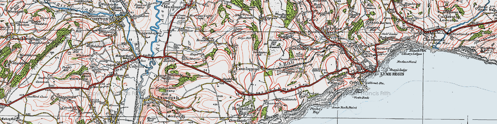 Old map of Combpyne in 1919