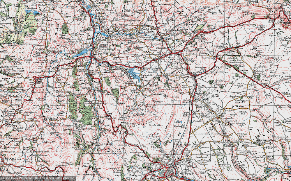 Old Map of Historic Map covering Allstone Lee in 1923