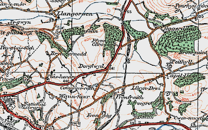 Old map of Afon Clarach in 1922