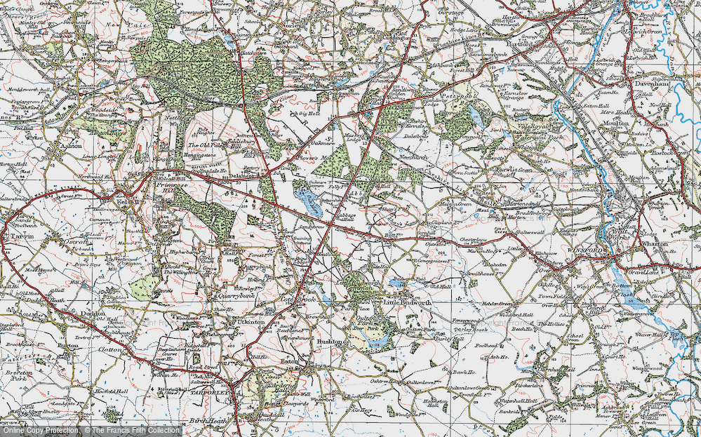 Old Map of Historic Map covering Abbots Moss in 1923