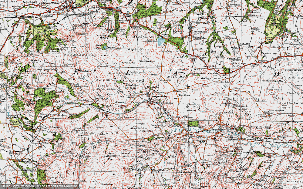 Old Map of Commondale, 1925 in 1925