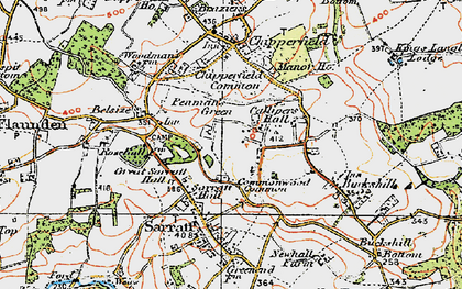 Old map of Commonwood in 1920
